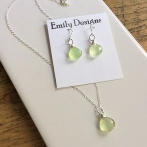 Pale green chalcedony simple drop set sterling